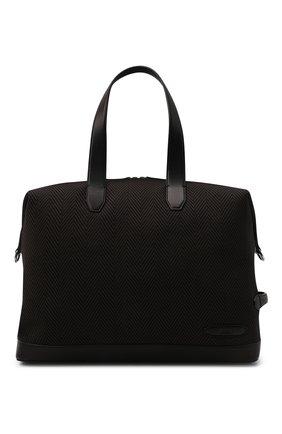 Мужская текстильная дорожная сумка BRIONI темно-коричневого цвета, арт. 0IUH0L/01708 | Фото 1 (Ремень/цепочка: На ремешке; Материал: Текстиль)