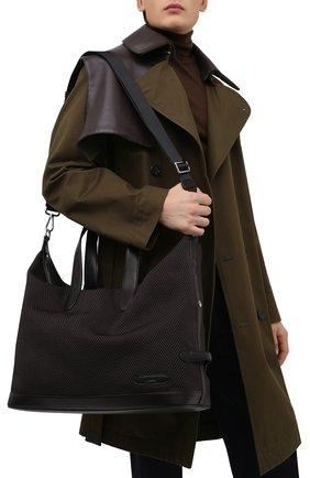 Мужская текстильная дорожная сумка BRIONI темно-коричневого цвета, арт. 0IUH0L/01708 | Фото 2 (Ремень/цепочка: На ремешке; Материал: Текстиль)