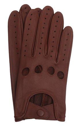 Мужские кожаные перчатки steeve AGNELLE коричневого цвета, арт. STEEVE | Фото 1 (Мужское Кросс-КТ: Кожа и замша)