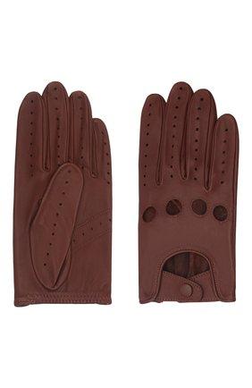 Мужские кожаные перчатки steeve AGNELLE коричневого цвета, арт. STEEVE | Фото 2 (Мужское Кросс-КТ: Кожа и замша)