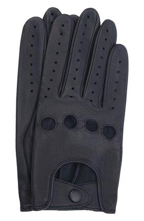 Мужские кожаные перчатки steeve AGNELLE темно-синего цвета, арт. STEEVE | Фото 1 (Мужское Кросс-КТ: Кожа и замша)