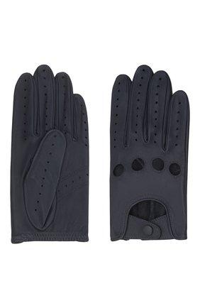 Мужские кожаные перчатки steeve AGNELLE темно-синего цвета, арт. STEEVE | Фото 2 (Мужское Кросс-КТ: Кожа и замша)