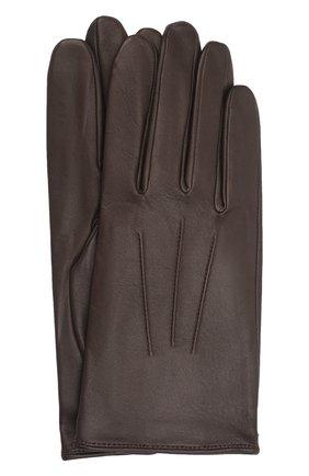 Мужские кожаные перчатки AGNELLE темно-коричневого цвета, арт. SLIMMERCURY/S | Фото 1 (Мужское Кросс-КТ: Кожа и замша)