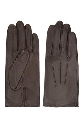 Мужские кожаные перчатки AGNELLE темно-коричневого цвета, арт. SLIMMERCURY/S | Фото 2 (Мужское Кросс-КТ: Кожа и замша)