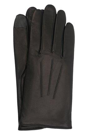 Мужские кожаные перчатки AGNELLE черного цвета, арт. SLIMMERCURY/C100 | Фото 1 (Мужское Кросс-КТ: Кожа и замша)