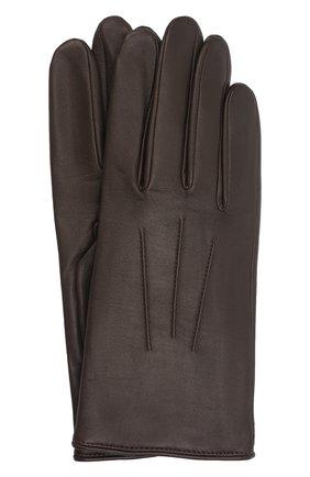 Мужские кожаные перчатки AGNELLE темно-коричневого цвета, арт. SLIMMERCURY/C100 | Фото 1 (Мужское Кросс-КТ: Кожа и замша)