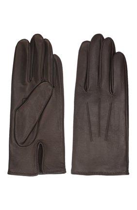 Мужские кожаные перчатки AGNELLE темно-коричневого цвета, арт. SLIMMERCURY/C100 | Фото 2 (Мужское Кросс-КТ: Кожа и замша)