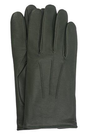 Мужские кожаные перчатки AGNELLE темно-зеленого цвета, арт. SLIMMERCURY/C100 | Фото 1 (Мужское Кросс-КТ: Кожа и замша)