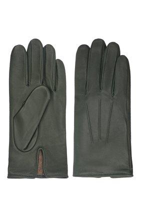 Мужские кожаные перчатки AGNELLE темно-зеленого цвета, арт. SLIMMERCURY/C100 | Фото 2 (Мужское Кросс-КТ: Кожа и замша)