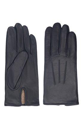 Мужские кожаные перчатки AGNELLE темно-синего цвета, арт. SLIMMERCURY/C100 | Фото 2 (Мужское Кросс-КТ: Кожа и замша)