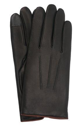 Мужские кожаные перчатки rick AGNELLE черного цвета, арт. RICK/C100 | Фото 1 (Мужское Кросс-КТ: Кожа и замша)
