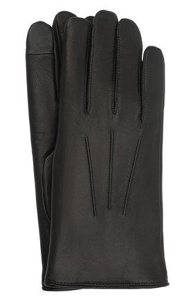 Мужские кожаные перчатки rabbit AGNELLE черного цвета, арт. RABBIT | Фото 1 (Мужское Кросс-КТ: Кожа и замша)