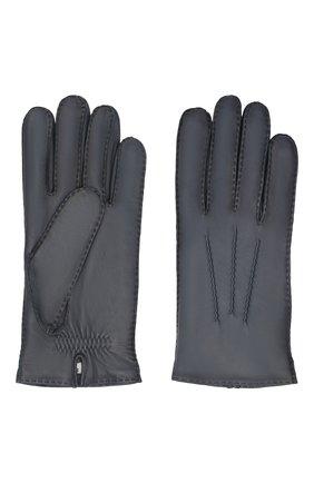 Мужские кожаные перчатки arthur AGNELLE синего цвета, арт. ARTHUR/C100 | Фото 2 (Мужское Кросс-КТ: Кожа и замша)
