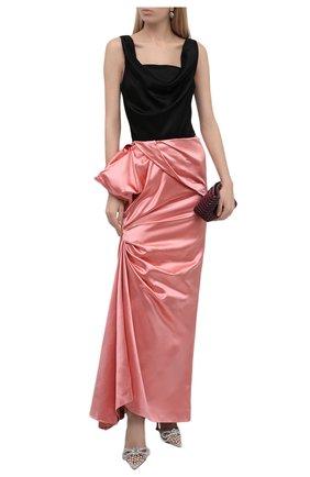 Женская юбка из хлопка и шелка DRIES VAN NOTEN розового цвета, арт. 212-010876-3356 | Фото 2 (Материал внешний: Шелк, Хлопок; Длина Ж (юбки, платья, шорты): Макси; Материал подклада: Вискоза; Стили: Гламурный; Женское Кросс-КТ: Юбка-одежда)