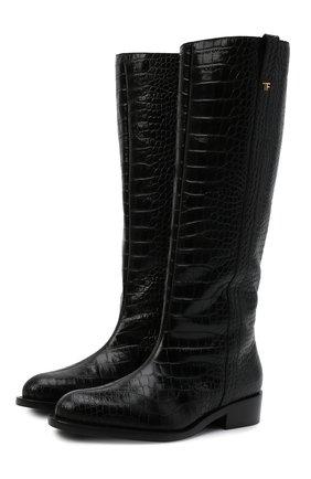 Женские кожаные сапоги TOM FORD черного цвета, арт. W2986T-LCL125   Фото 1 (Каблук высота: Низкий; Подошва: Платформа; Материал внутренний: Натуральная кожа; Высота голенища: Средние; Каблук тип: Устойчивый)