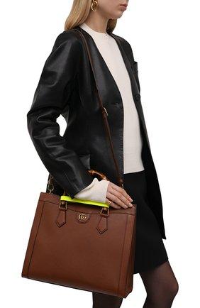 Женская сумка diana medium GUCCI коричневого цвета, арт. 655658/17QDT | Фото 2 (Материал: Натуральная кожа; Сумки-технические: Сумки top-handle; Размер: medium)