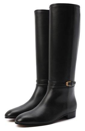 Женские кожаные сапоги finn GUCCI черного цвета, арт. 658889/BK000 | Фото 1 (Высота голенища: Средние; Подошва: Плоская; Каблук высота: Низкий; Материал внутренний: Натуральная кожа; Каблук тип: Устойчивый)