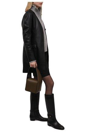Женские кожаные сапоги finn GUCCI черного цвета, арт. 658889/BK000 | Фото 2 (Высота голенища: Средние; Подошва: Плоская; Каблук высота: Низкий; Материал внутренний: Натуральная кожа; Каблук тип: Устойчивый)