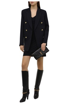 Женские кожаные сапоги le maillon 95 SAINT LAURENT черного цвета, арт. 670254/2W700   Фото 2 (Каблук высота: Высокий; Материал внутренний: Натуральная кожа; Высота голенища: Средние; Подошва: Плоская; Каблук тип: Шпилька)