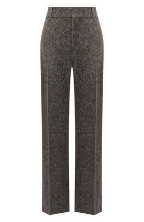 Женские брюки из шерсти и шелка CHLOÉ темно-серого цвета, арт. CHC21WPA12065   Фото 1 (Материал подклада: Хлопок; Материал внешний: Шерсть, Шелк; Длина (брюки, джинсы): Удлиненные; Стили: Гламурный; Женское Кросс-КТ: Брюки-одежда; Силуэт Ж (брюки и джинсы): Расклешенные)