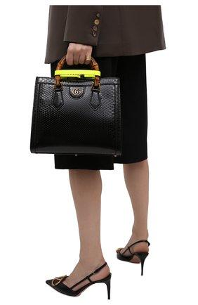 Женская сумка diana small GUCCI черного цвета, арт. 660195/L2DPT/PBIV | Фото 2 (Ремень/цепочка: На ремешке; Размер: small; Сумки-технические: Сумки top-handle)