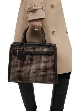 Женская сумка rl 50 medium RALPH LAUREN темно-коричневого цвета, арт. 435856481 | Фото 2 (Размер: medium; Ремень/цепочка: На ремешке; Материал: Текстиль; Сумки-технические: Сумки top-handle)