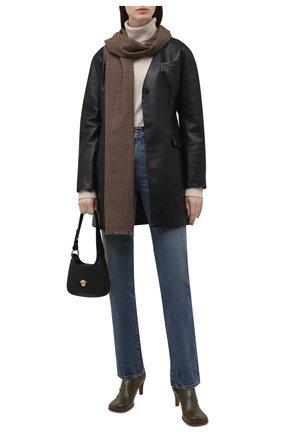 Женский шерстяной шарф RALPH LAUREN коричневого цвета, арт. 434857561 | Фото 2 (Материал: Шерсть)