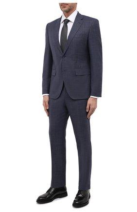 Мужской шерстяной костюм BOSS синего цвета, арт. 50464850   Фото 1 (Материал внешний: Шерсть; Рукава: Длинные; 1-2-бортные: Однобортные; Стили: Классический)