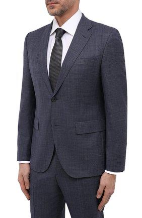 Мужской шерстяной костюм BOSS синего цвета, арт. 50464850   Фото 2 (Материал внешний: Шерсть; Рукава: Длинные; 1-2-бортные: Однобортные; Стили: Классический)
