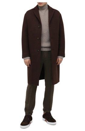 Мужские замшевые кеды tiziano ZEGNA COUTURE коричневого цвета, арт. A4345X-LHMRR | Фото 2 (Подошва: Массивная; Материал утеплителя: Натуральный мех; Материал внешний: Замша)