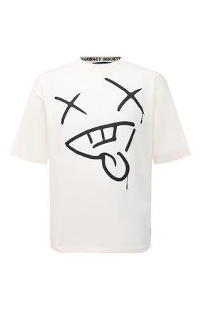Мужская хлопковая футболка PHARMACY INDUSTRY белого цвета, арт. PHMSTMM327   Фото 1 (Длина (для топов): Стандартные; Рукава: Короткие; Материал внешний: Хлопок; Принт: С принтом; Стили: Гранж)