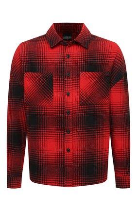 Мужская хлопковая рубашка COMME DES FUCKDOWN красного цвета, арт. CDFU1340   Фото 1 (Длина (для топов): Стандартные; Рукава: Длинные; Материал внешний: Хлопок; Случай: Повседневный; Принт: С принтом; Стили: Гранж; Манжеты: На пуговицах; Воротник: Акула)