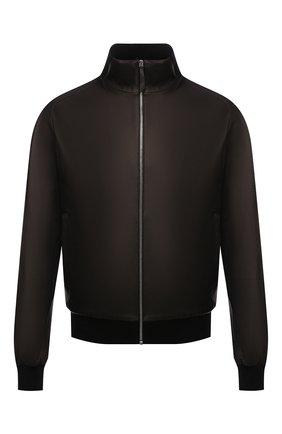 Мужской кожаный бомбер ANDREA CAMPAGNA темно-коричневого цвета, арт. 50202E1652600 | Фото 1 (Рукава: Длинные; Материал подклада: Шелк; Длина (верхняя одежда): Короткие; Кросс-КТ: Куртка; Принт: Без принта; Мужское Кросс-КТ: Кожа и замша; Стили: Классический)
