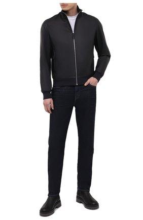 Мужской кожаный бомбер ANDREA CAMPAGNA темно-синего цвета, арт. 50202E1652600   Фото 2 (Рукава: Длинные; Длина (верхняя одежда): Короткие; Материал подклада: Шелк; Кросс-КТ: Куртка; Принт: Без принта; Мужское Кросс-КТ: Кожа и замша; Стили: Классический)