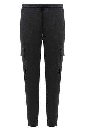 Мужские джоггеры PAUL&SHARK темно-серого цвета, арт. 11314060/HUK   Фото 1 (Материал внешний: Синтетический материал, Шерсть; Длина (брюки, джинсы): Укороченные; Силуэт М (брюки): Джоггеры, Карго; Стили: Спорт-шик)