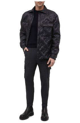Мужские джоггеры PAUL&SHARK темно-серого цвета, арт. 11314060/HUK   Фото 2 (Материал внешний: Синтетический материал, Шерсть; Длина (брюки, джинсы): Укороченные; Силуэт М (брюки): Джоггеры, Карго; Стили: Спорт-шик)
