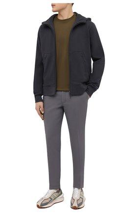 Мужские хлопковые брюки BOSS темно-серого цвета, арт. 50410310   Фото 2 (Материал внешний: Хлопок; Случай: Повседневный; Силуэт М (брюки): Чиносы; Стили: Кэжуэл)