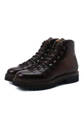 Мужские кожаные ботинки RALPH LAUREN темно-коричневого цвета, арт. 815811329 | Фото 1 (Подошва: Плоская; Материал внутренний: Натуральная кожа; Мужское Кросс-КТ: Ботинки-обувь, Хайкеры-обувь)
