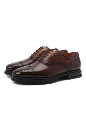 Мужские кожаные оксфорды SANTONI темно-коричневого цвета, арт. MCCG17916SM5EVRTT50 | Фото 1 (Материал внутренний: Натуральная кожа; Мужское Кросс-КТ: Броги-обувь; Стили: Классический)