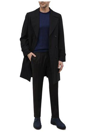 Мужские кожаные дерби ZILLI синего цвета, арт. MDW-A101/003 | Фото 2 (Материал внутренний: Текстиль; Стили: Классический; Материал внешний: Замша)
