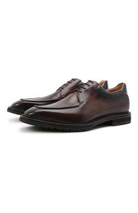 Мужские кожаные дерби BERLUTI темно-коричневого цвета, арт. S5592-001 | Фото 1 (Материал внутренний: Натуральная кожа; Стили: Классический)