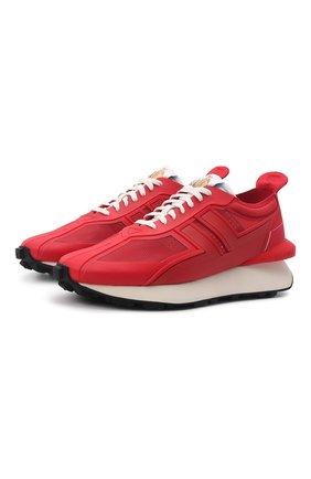 Мужские кроссовки LANVIN красного цвета, арт. FM-SKBRUC-MELT-A21   Фото 1 (Материал внешний: Текстиль; Материал внутренний: Натуральная кожа; Подошва: Массивная; Стили: Гранж)