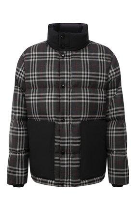 Мужская пуховая куртка BURBERRY темно-серого цвета, арт. 8045499   Фото 1 (Длина (верхняя одежда): Короткие; Материал подклада: Синтетический материал; Материал утеплителя: Пух и перо; Рукава: Длинные; Материал внешний: Шерсть; Мужское Кросс-КТ: шерсть и кашемир, пуховик-короткий; Кросс-КТ: Куртка; Стили: Кэжуэл)