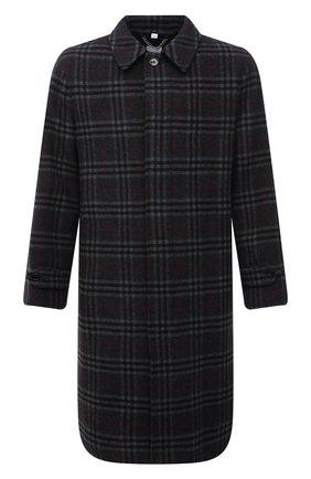 Мужской пальто из шерсти и кашемира BURBERRY темно-серого цвета, арт. 8043831   Фото 1 (Материал внешний: Шерсть; Материал подклада: Купро; Рукава: Длинные; Длина (верхняя одежда): До колена; Мужское Кросс-КТ: пальто-верхняя одежда; Стили: Преппи, Кэжуэл)