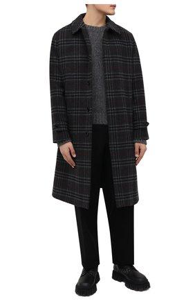 Мужской пальто из шерсти и кашемира BURBERRY темно-серого цвета, арт. 8043831   Фото 2 (Материал внешний: Шерсть; Материал подклада: Купро; Рукава: Длинные; Длина (верхняя одежда): До колена; Мужское Кросс-КТ: пальто-верхняя одежда; Стили: Преппи, Кэжуэл)