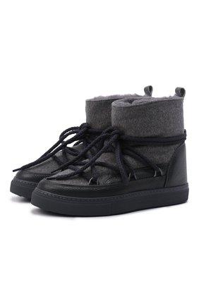 Мужские комбинированные сапоги INUIKII серого цвета, арт. 50202-52   Фото 1 (Материал внешний: Текстиль; Материал утеплителя: Натуральный мех; Мужское Кросс-КТ: Сапоги-обувь, зимние сапоги)