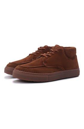 Мужские замшевые ботинки INUIKII коричневого цвета, арт. 50202-61 | Фото 1 (Материал утеплителя: Натуральный мех; Мужское Кросс-КТ: Ботинки-обувь; Материал внешний: Замша)