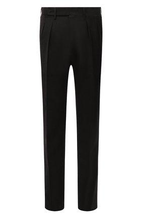 Мужские брюки из шерсти и кашемира KITON темно-коричневого цвета, арт. UPNVIK0121A | Фото 1 (Материал подклада: Купро; Материал внешний: Шерсть; Случай: Повседневный; Стили: Кэжуэл)