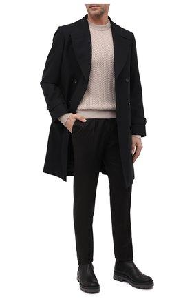 Мужские брюки из шерсти и кашемира KITON темно-коричневого цвета, арт. UPNVIK0121A | Фото 2 (Материал подклада: Купро; Материал внешний: Шерсть; Случай: Повседневный; Стили: Кэжуэл)
