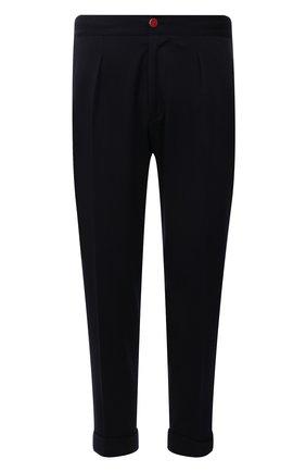 Мужские шерстяные брюки KITON темно-синего цвета, арт. UFP1LACK0159A   Фото 1 (Материал внешний: Шерсть; Случай: Повседневный; Стили: Кэжуэл)